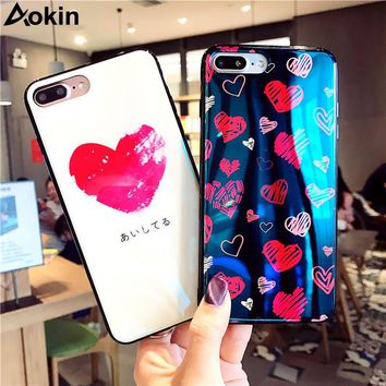 Aokin Blu-Ray Laser Mirror Phone Case for iPhone 7 Cases Fashion Luxurious Love Heart Soft Cover Case for iPhone 6 6S 7 8 Plus X