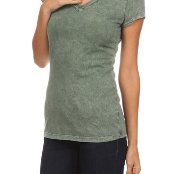 Teal Stone Washed Short Sleeve Shirt