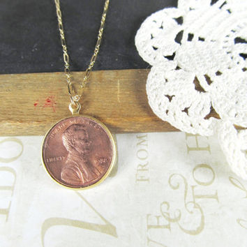 CLAIRE lucky penny necklace gold by brideblu on Etsy