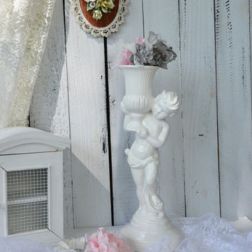 Vintage Porcelain Statues, Gloss Porcelain Candle Holder, Shabby Chic Decor, Wedding Decor, Cherub Candle Holder, Herub Statue Vase
