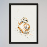 BB-8 Poster Watercolor Print Wall Decor Fine Art Giclee Print Star Wars Wall StarWars Watercolor Print Poster Nursery Art New Droid