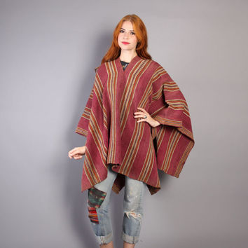 30s ETHNIC Wool PONCHO / Native American Soft Pink Striped SERAPE Cape