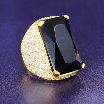 14k Gold Finish Custom Black Onyx Iced Out Men's Ring