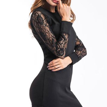 Lace-Sleeve Bodycon Mini Dress in Black