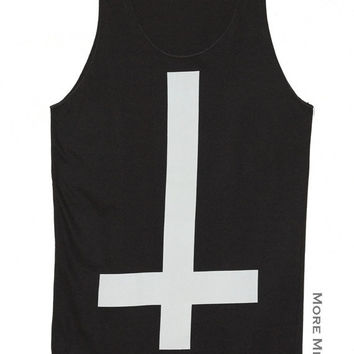 Inverted Cross Symbol Sign Charcoal Black Tank Top Singlet Vest Tunic Sleeveless Women Tee Shirt Art Indie Punk Rock Music T-Shirt Size S-M