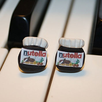 Nutella Polymer Clay Studs Earrings by AudballsClayCharms on Etsy