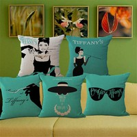 Tiffany Breakfast Audrey Hepburn One Side Printing Home Decor Sofa Car Seat Decorative Cushion Cover Pillow Case Capa Almofada
