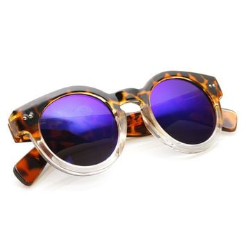Retro P3 Keyhole Flash Mirror Revo Lens Round Sunglasses 9403