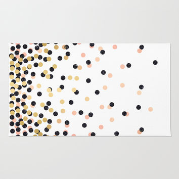 Pink & Black Polka Dots Area & Throw Rug by cafelab