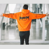 Bieber Purpose Tour Orange hood flocking sweater men and women