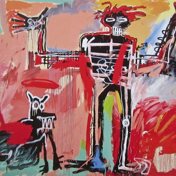Boy and Dog in a Johnnypump, Offset Lithograph, Jean-Michel Basquiat