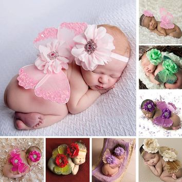 Newborn Baby Photography Prop Photo Crochet Outfits Knit Butterfly Wings Baby