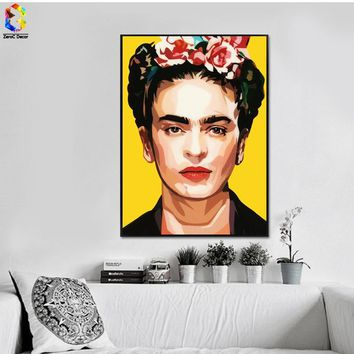 Frida Kahlo printing Wall Art Canvas Impressionist paintings Poster and Print Flower Canvas for Living Room Self Portrait
