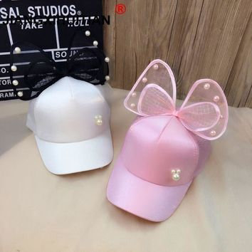 Trendy Winter Jacket 2018 high quality Children Baseball Cap Spring Summer Baby Rabbit Ear Pearl Big Bow Kids Sun Hat Girls Snapback Hip Hop Caps AT_92_12