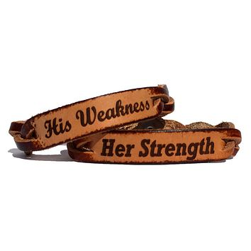 Her Strength and His Weakness Leather Bracelets (Pair)