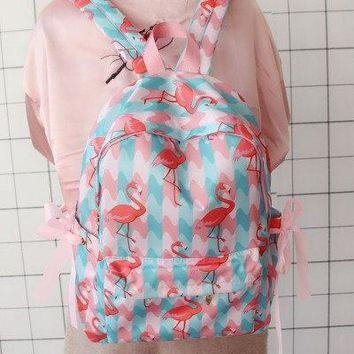 University College Backpack Korean fresh student school bag strawberry Japanese  style girl bow AT_63_4