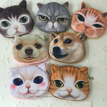 NEW Popular 7Animals , Kitty Cat and Dogs Plush Coin Purse , Gift 10CM Coin BAG Purse , Pocket Coin Wallet BAG , Keychain BAG