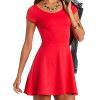 Open Back Textured Cap Sleeve Skater Dress - Teaberry