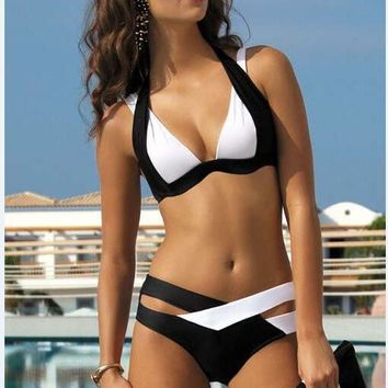 Patchwork Bikini Woman Bandage Swimwear  Bathing Suit Black And White