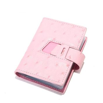 Ostrich Pattern Genuine Leather Business Id Card Holders Fashion Women Credit Card Holder Wallet