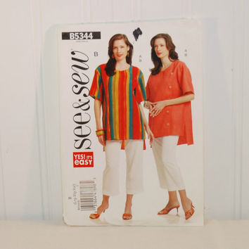 Butterick B5344 Yes! It's Easy See & Sew (c. 2009) Misses' Size Large to XXLarge, Plus Size, Women's Tunic and Pants, Summer Clothes