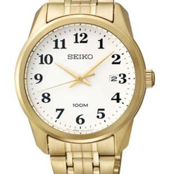 Seiko Mens Watch - Stainless Steel - Gold Tone - White Dial - Date - 100m