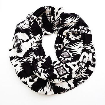 Black and White Aztec Infinity Scarf- Tribal Print Soft Jersey Infinity Scarf