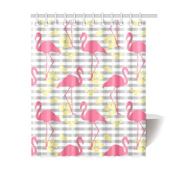 Flamingo Polyester Shower Curtain 60x72 inch