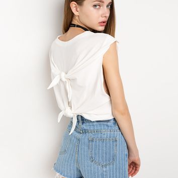 Back Knot Ties White Tee