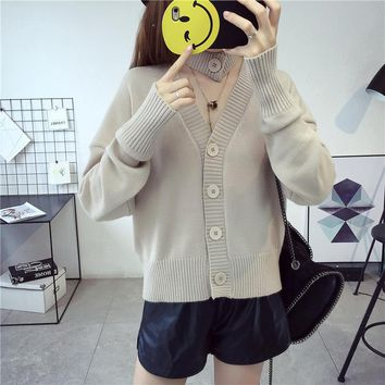 Autumn V Neck Multi-purpose Knitwear Fashion Women's Clothing Single-Breasted Cardigan Solid Color Sweater Loose Coat