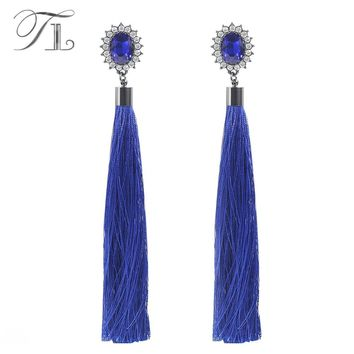 TL Bohemia Long Tassel Earrings For Women Fashion Big Crystal Statement Dangle Earrings Africa Ethnic Jewelry Brincos Pendientes