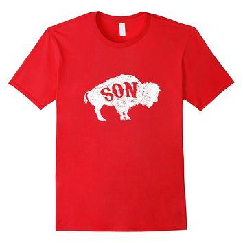 Bison Buffalo Son T-Shirt Father Son Matching For Boy Funny