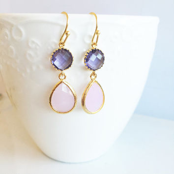 Purple Pink Earrings, Bridal, Pastel Wedding, Birthstone, Personalised, Everyday Work Jewellery, Briolette Tear Drop Gold Earrings