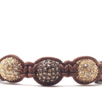 Brown Macrame Bracelet Beaded by GirlBurkeStudios on Etsy