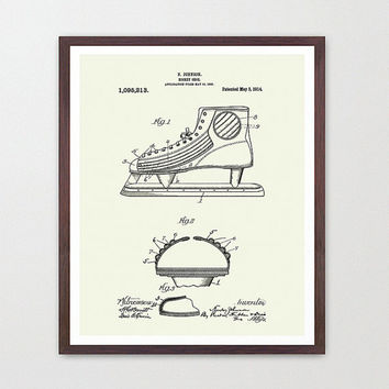 Hockey Poster - Hockey Art Print - Hockey Skates - Patent Print - Patent Poster - Hockey Patent - Hockey Art - NHL - NHL Poster - Old Hockey