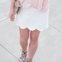 Hudson Scalloped Skirt - white