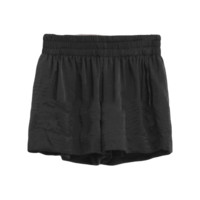 Black Elastic Waist Loose Shorts