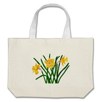 Daffodil Flowers Watercolour Painting Artwork Tote