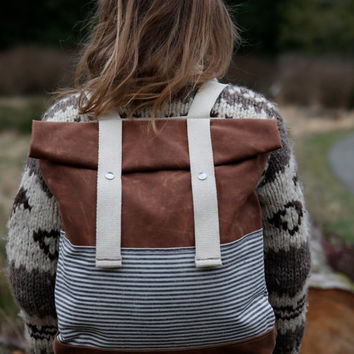 $152.00 Waxed Canvas Backpack Weather Resistant Stripes by BarnacleBags