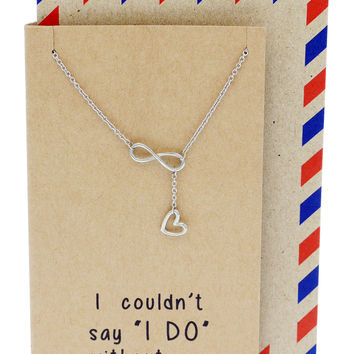 Kate Infinity Heart Lariat Necklace, Bridesmaid Gifts, Sister Jewelry