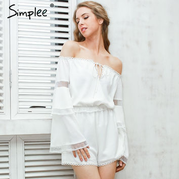 Off shoulder hollow out jumpsuit white