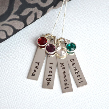 Personalized Mother Grandmother Hand-Stamped Initial Necklace- Four bar Children's Names with Birthstones