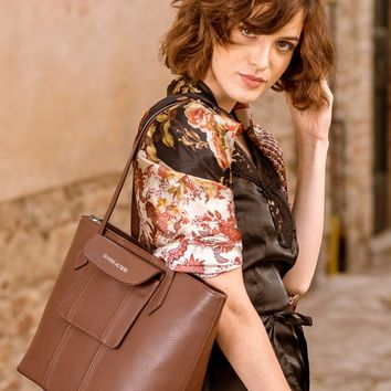 Ischia-Large Shopper Tote-Brown Textured Leather