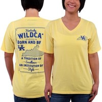 Women's Yellow Kentucky Wildcats BB State V-Neck T-Shirt