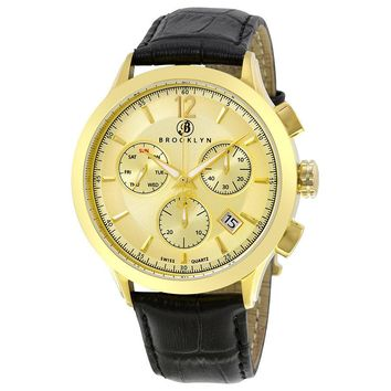 Brooklyn Watch Co. Dakota Stainless Steel Gold Plated Mens Watch 205-M2721