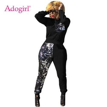 Adogirl Sequins Patchwork Women Tracksuit Long Sleeve Pullover Sweatshirts Top + Pants Casual Two Piece Set Sporting Suits