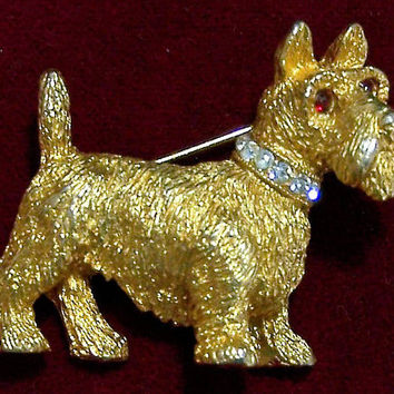 Nemo Scottish Terrier Pin, Rhinestone Collar, Gold Tone Scottie Dog Brooch, Figural Animal,  Signed Vintage Jewelry 218