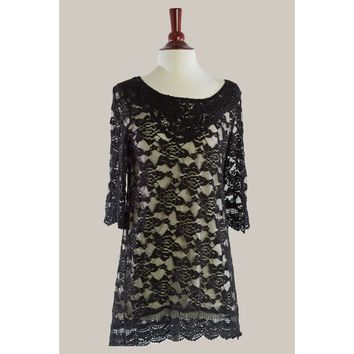 G128-Black/Cream, lace dress