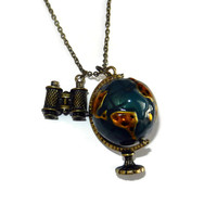 Brass Traveling Globe and Binocular Charm Necklace
