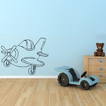 Small Plane Vinyl Decal Wall Sticker Art Design Kids Nursery Room Modern Nice Picture Home Decor Hall ki138